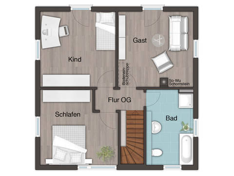 Grundriss Obergeschoss Stadthaus Flair 124 von ZuHause Bau GmbH - Town & Country