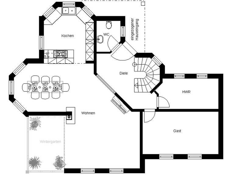 White Pearl 130 Anbau Finesse Grundriss Erdgeschoss