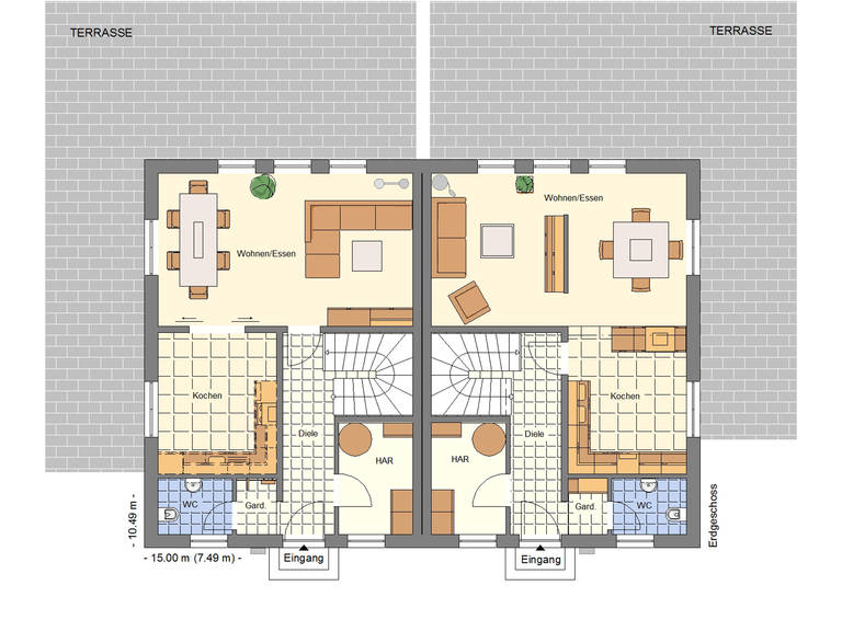 Grundriss EG Doppelhaus 256