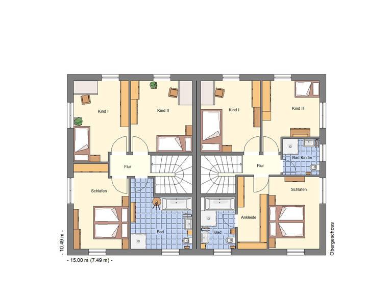 Grundriss OG Doppelhaus 256