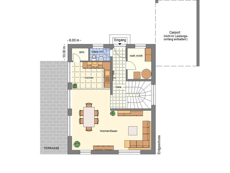 Grundriss EG Einfamilienhaus 128
