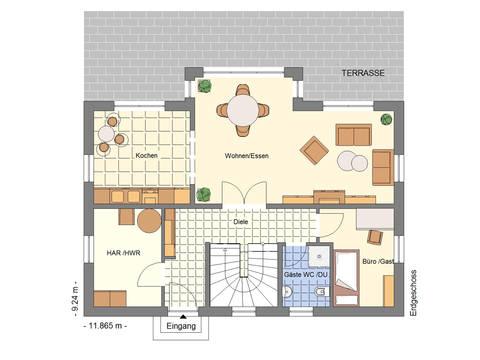 Grundriss EFH 162 mit Terrasse