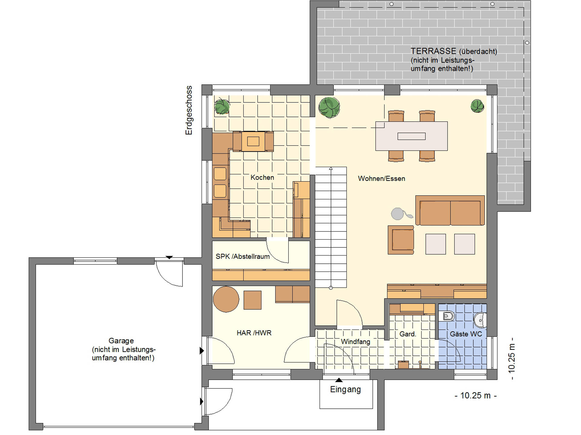 Grundriss EG Einfamilienhaus 170