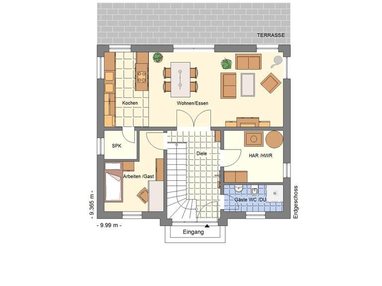 Stadtvilla 148 Schuckhardt Massiv-Haus Grundriss EG