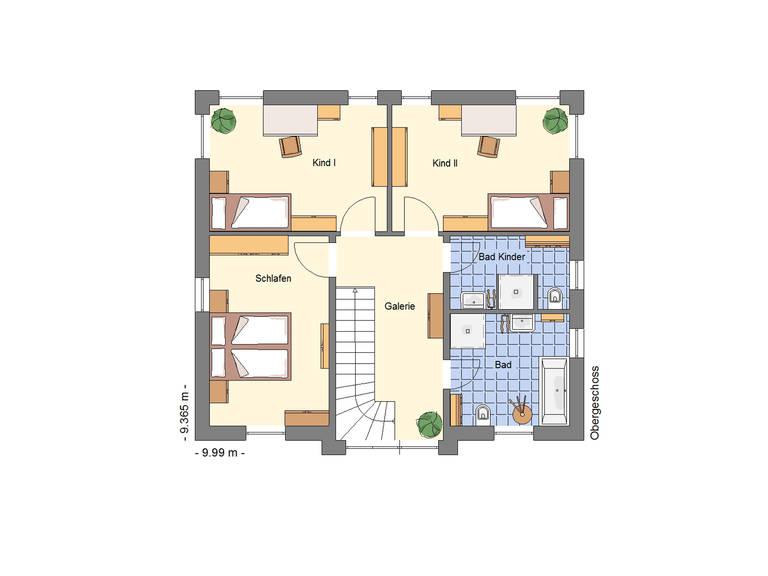 Stadtvilla 148 Schuckhardt Massiv-Haus Grundriss OG
