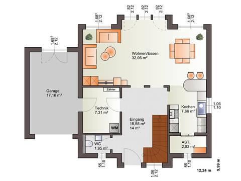Grundriss EG Haus 161 S von Energiesparhaus + Projekt