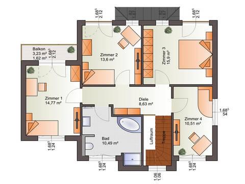 Grundriss OG Haus 161 S von Energiesparhaus + Projekt