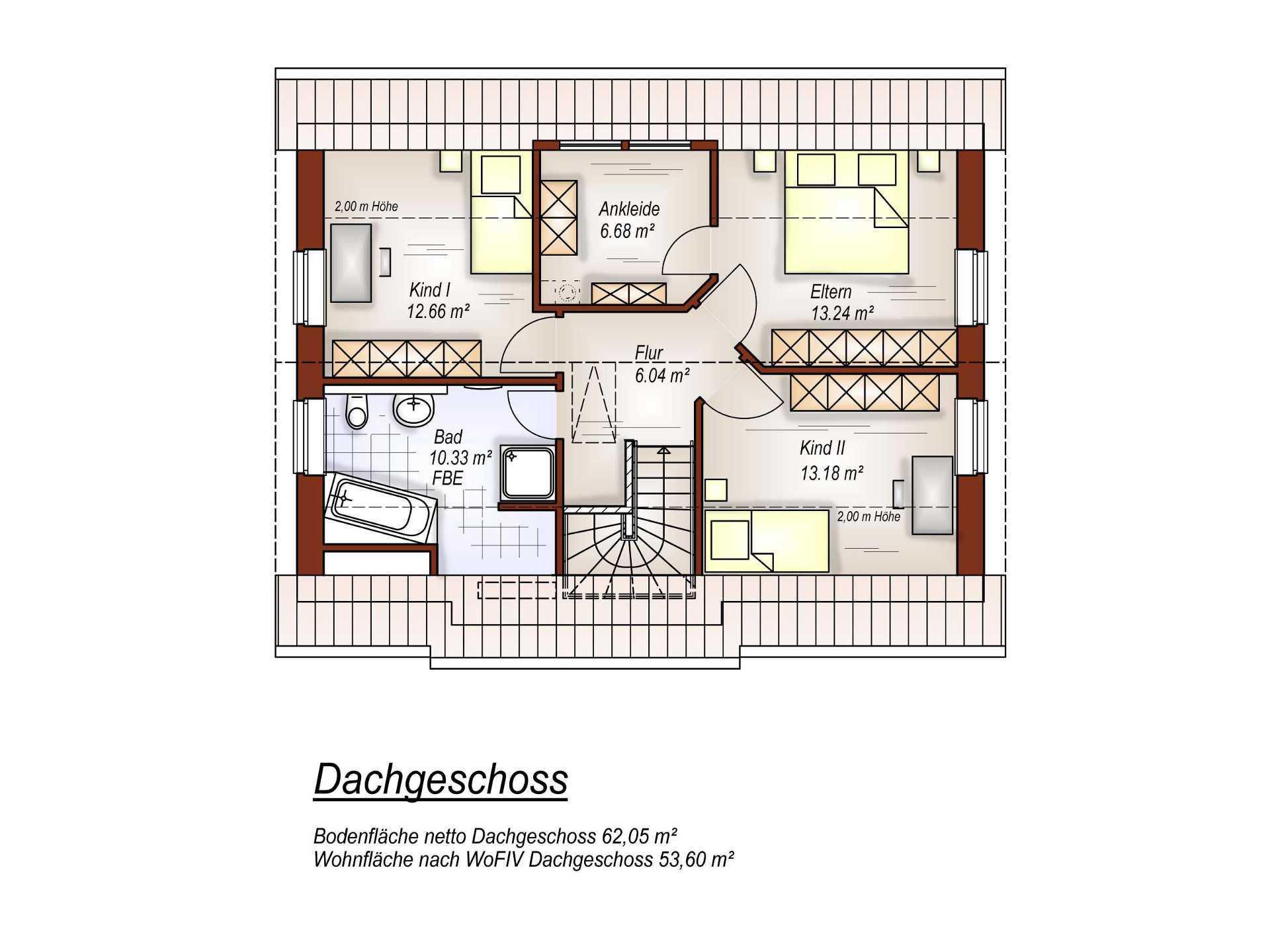 Grundriss DG Satteldachhaus  S132 von Tönjes & Meichsner