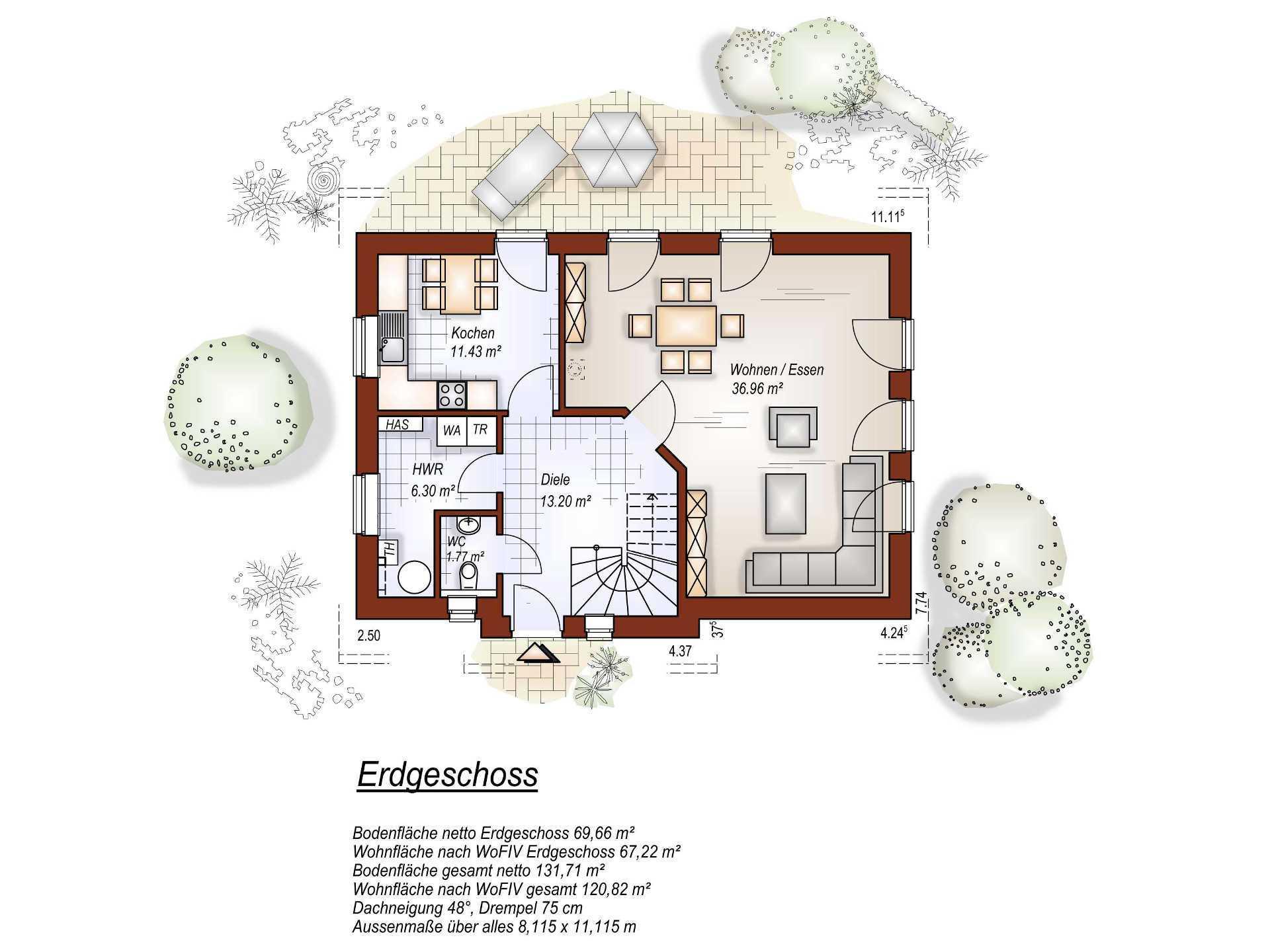 Grundriss EG Satteldachhaus  S132 von Tönjes & Meichsner