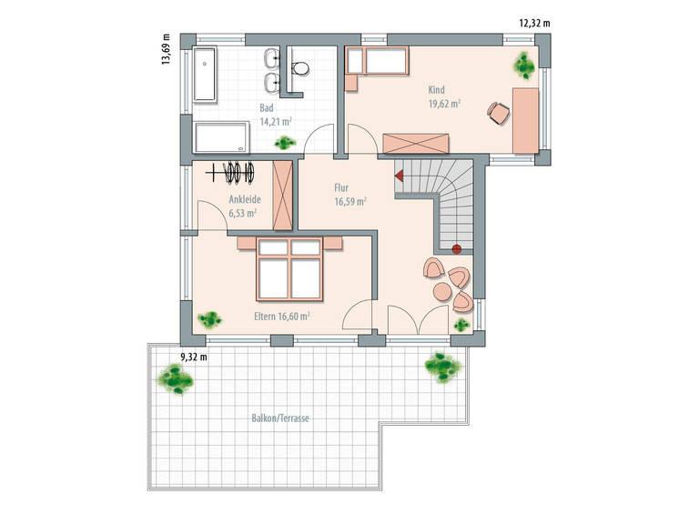 Bauhaustyp 1 Grundriss OG von Zimmermann Haus