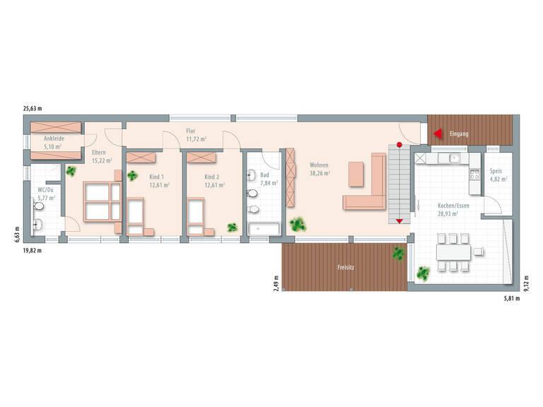 Bauhaus Typ 2 Grundriss EG von Zimmermann Haus