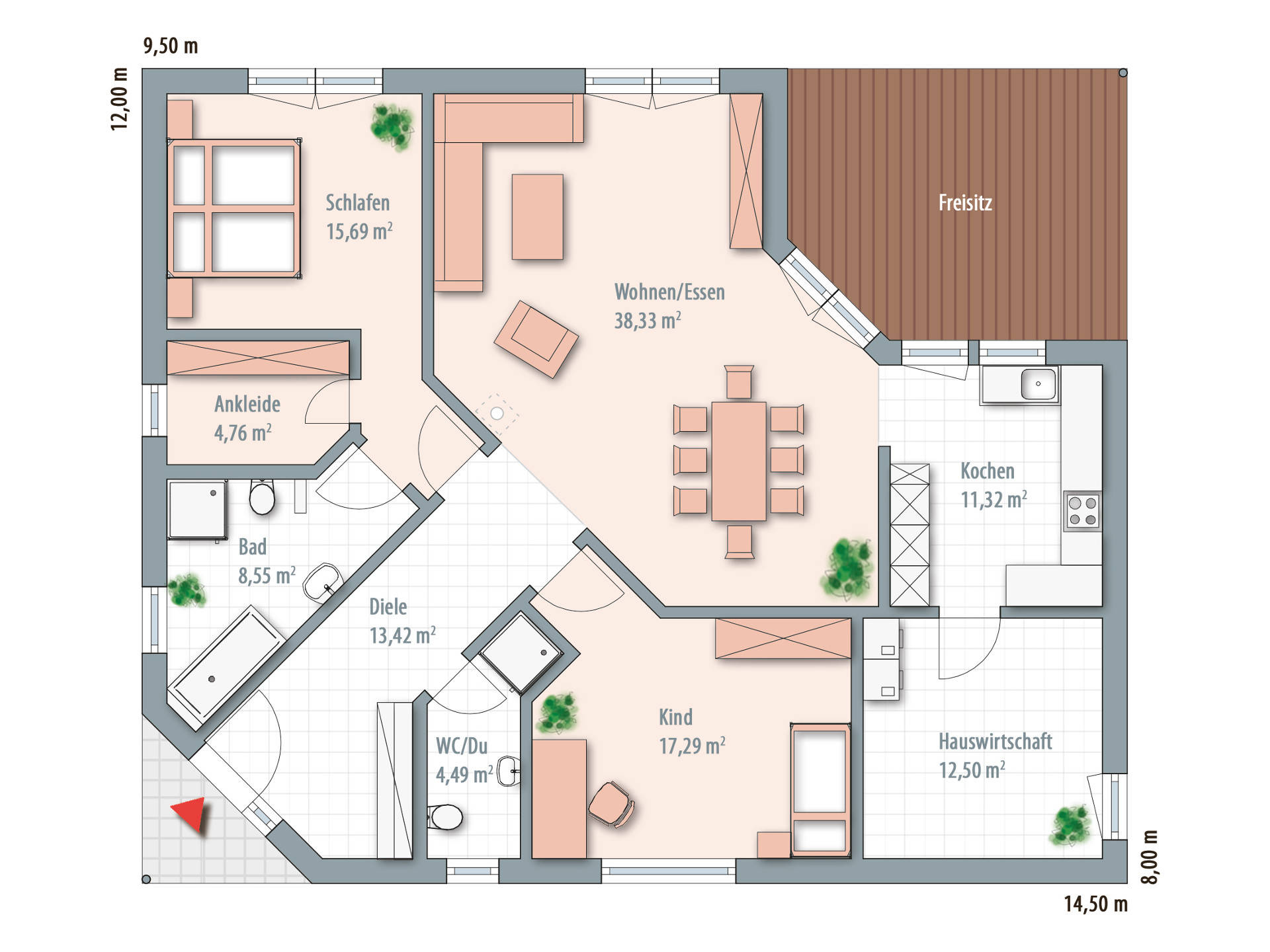 Musterhaus grundriss bungalow  Bungalow 130 - Zimmermann Haus