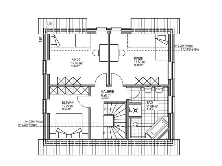 Grundriss DG Stadthaus S 301 SD
