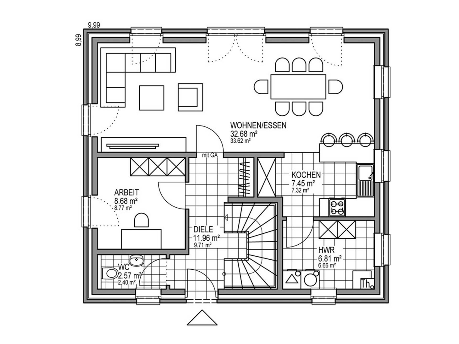 Grundriss EG Stadthaus S 301 SD