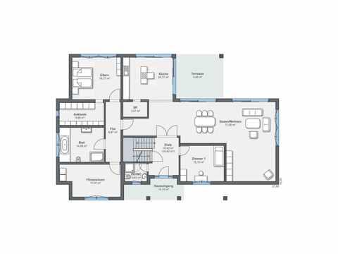 Luxusvilla im Bauhaus-Stil - WeberHaus Grundriss EG