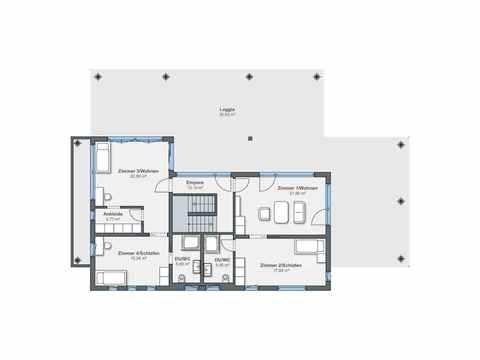 Luxusvilla im Bauhaus-Stil - WeberHaus Grundriss OG