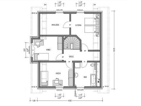 Grundriss Dachgeschoss Einfamilienhaus HK 159 von Heinz von Heiden
