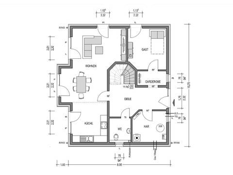 Grundriss Erdgeschoss Einfamilienhaus HK 159 von Heinz von Heiden