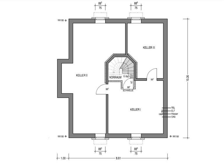Grundriss Keller Einfamilienhaus HK 159 von Heinz von Heiden