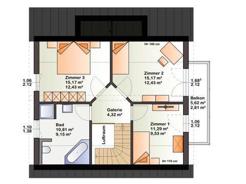 Grundriss DG Haus Esprit 125 von Bärenhaus