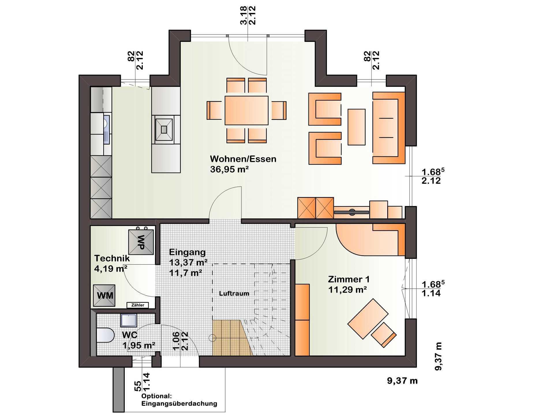 Grundriss EG Haus Esprit 125 von Bärenhaus
