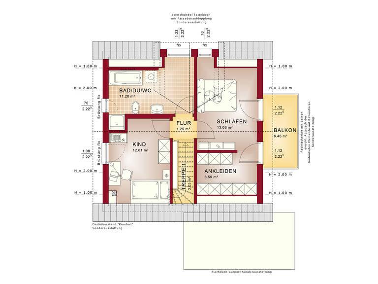 Haus Solution 106 V2 Grundriss DG von Living Haus