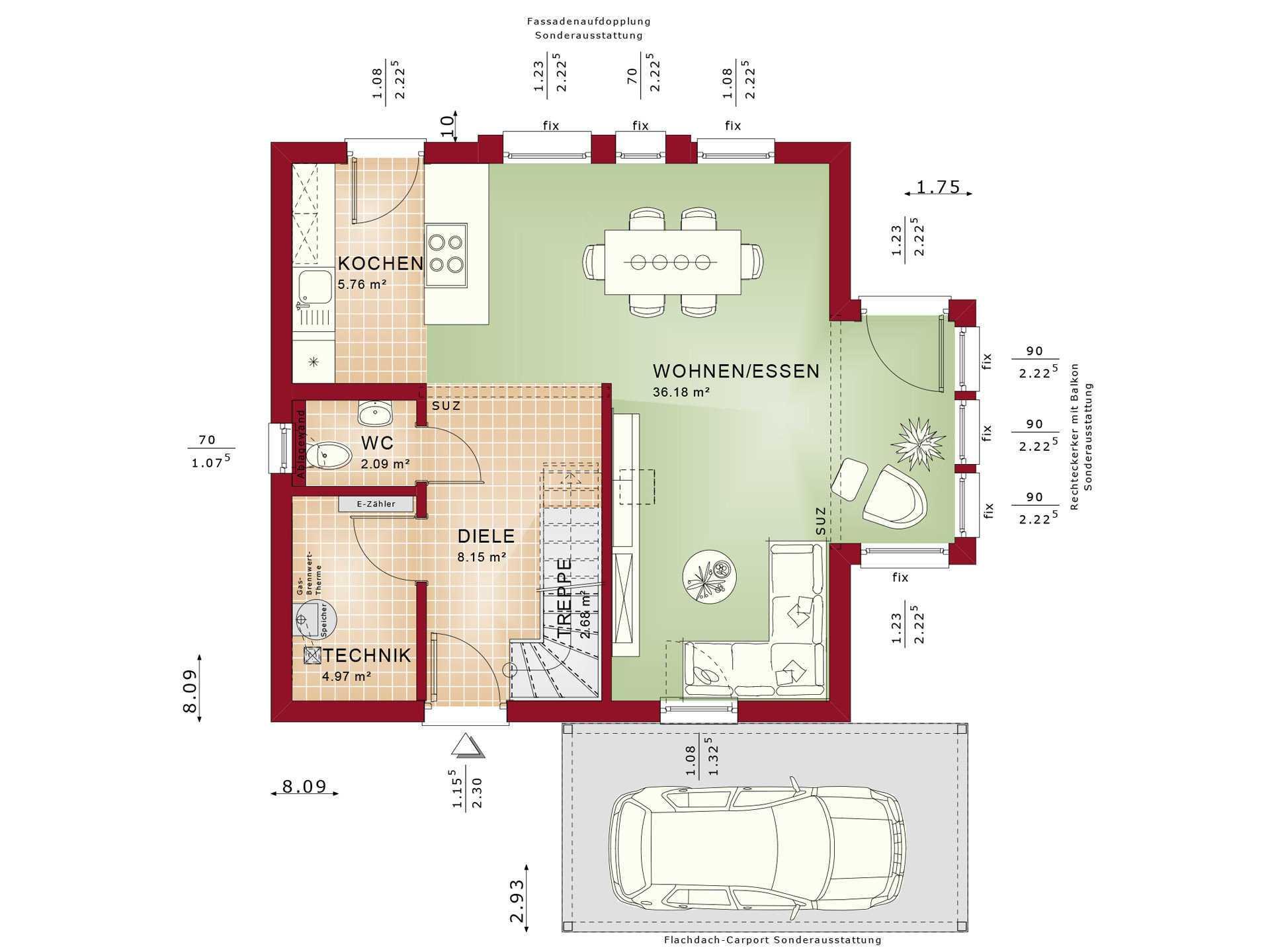 Haus Solution 106 V2 Grundriss EG von Living Haus