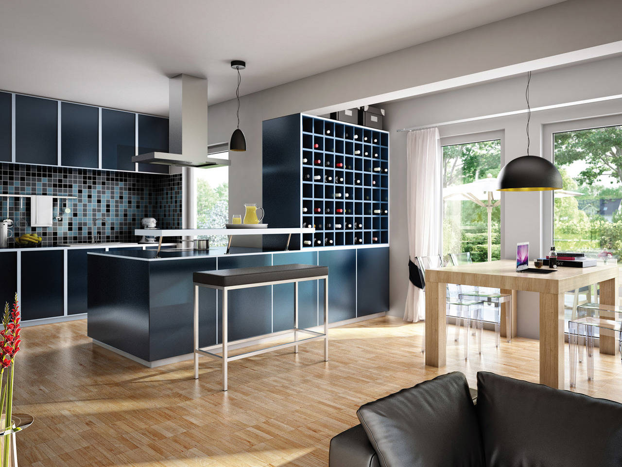 Haus Solution 106 V6 b Wohnküche von Living Haus