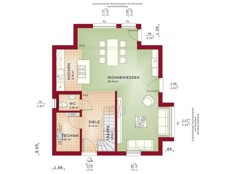 Haus Solution 106 V10 Grundriss EG von Living Haus
