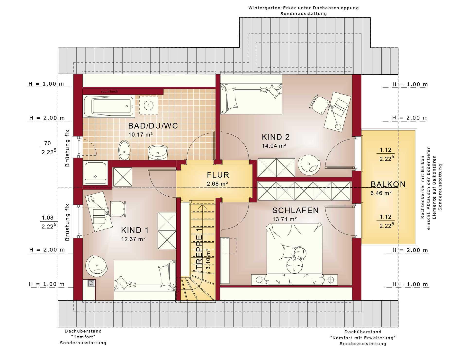 Haus Solution 124 V2 Grundriss DG von Living Haus