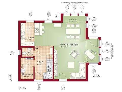 Haus Solution 124 V2 Grundriss EG von Living Haus