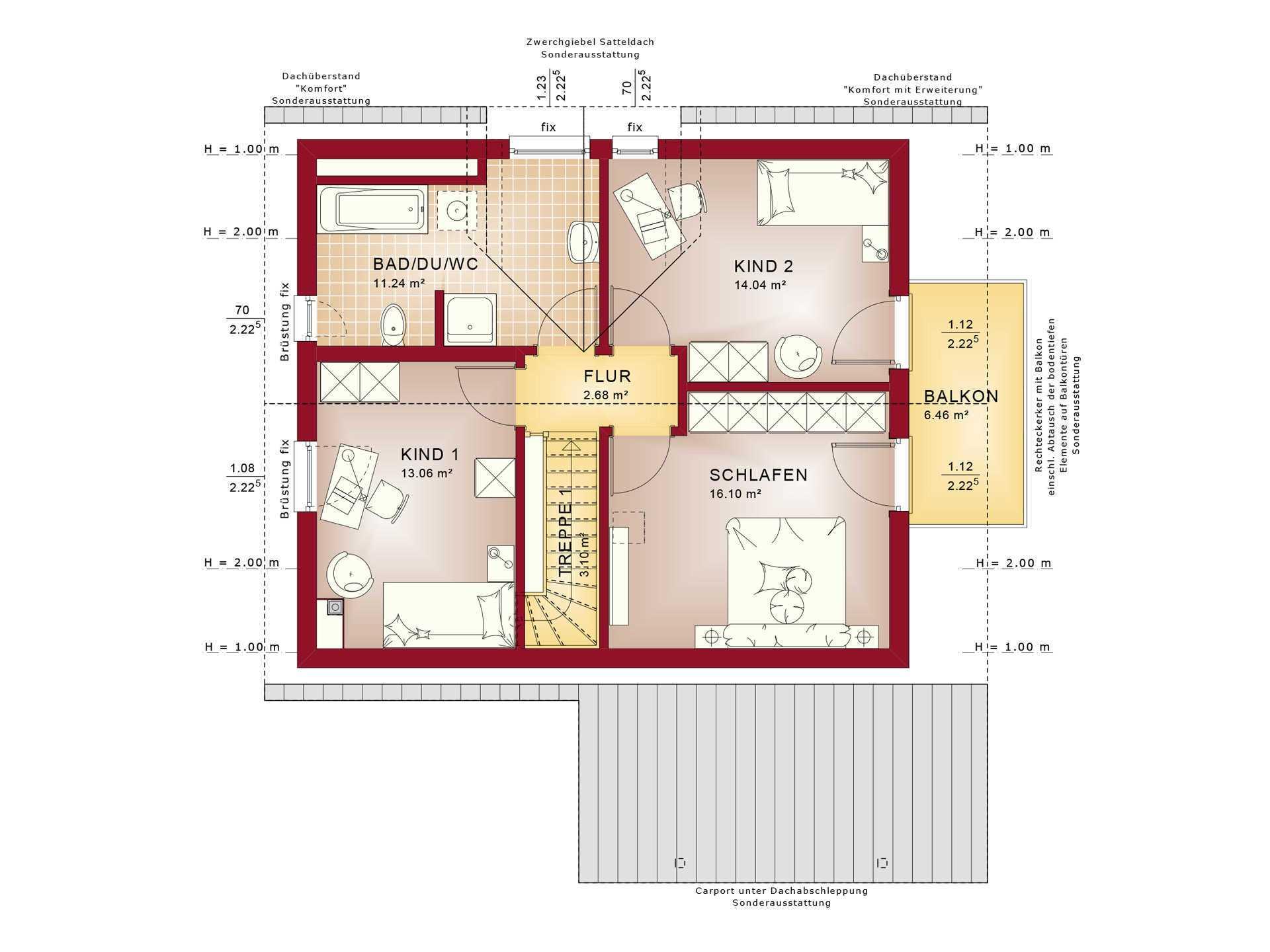 Haus Solution 124 V5 b DG Grundriss von Living Haus