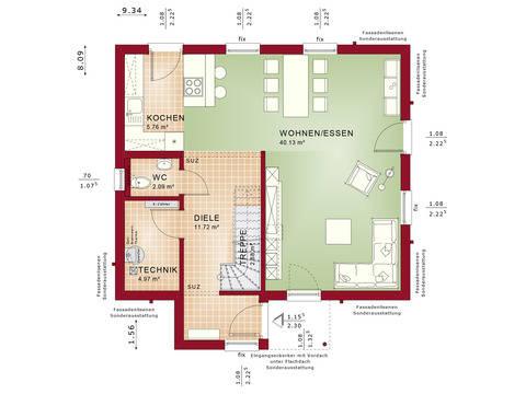 Haus SOLUTION 124 V7 Grundriss EG von Living Haus