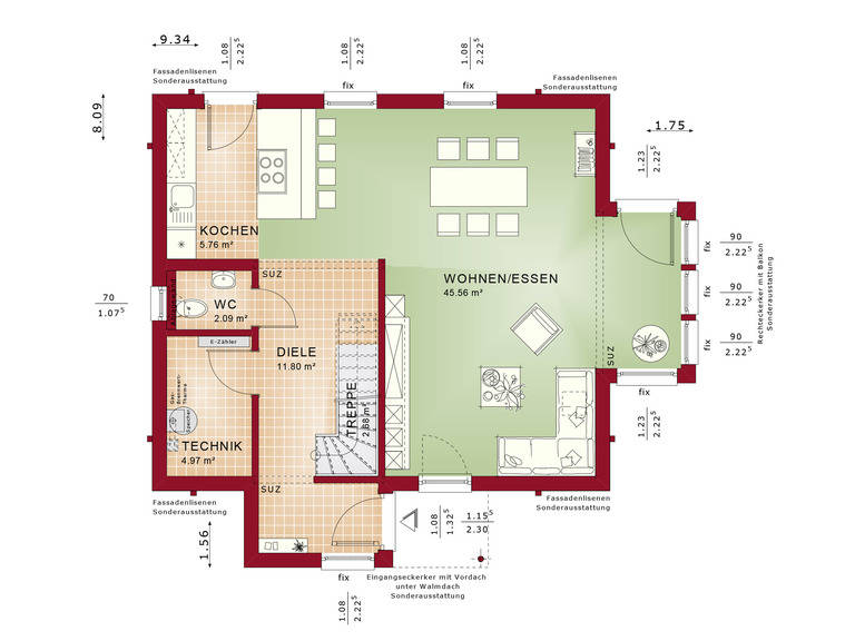 Haus SOLUTION 124 V8 Grundriss EG von Living Haus