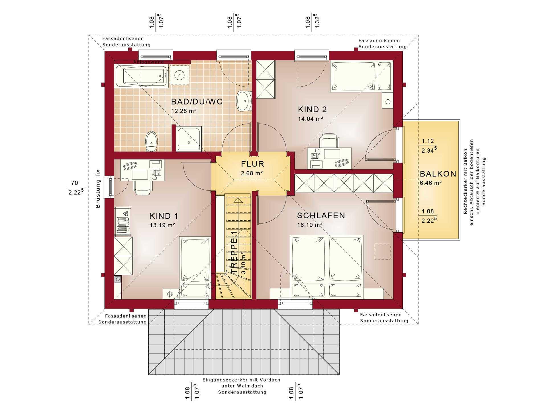 Haus SOLUTION 124 V8 Grundriss OG von Living Haus