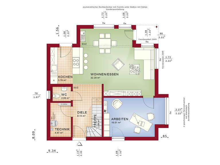 Haus SOLUTION 124 V9 Grundriss EG von Living Haus