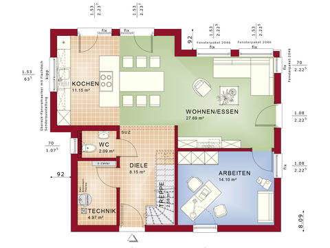 Haus SOLUTION 124 V10 Grundriss EG Wohnküche von Living Haus