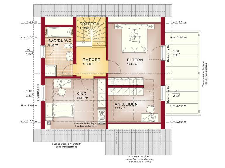 Haus SOLUTION 125 V3 Grundriss DG von Living Haus