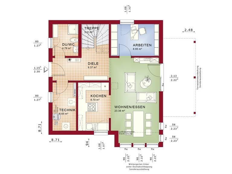 Haus SOLUTION 125 V3 Grundriss EG von Living Haus