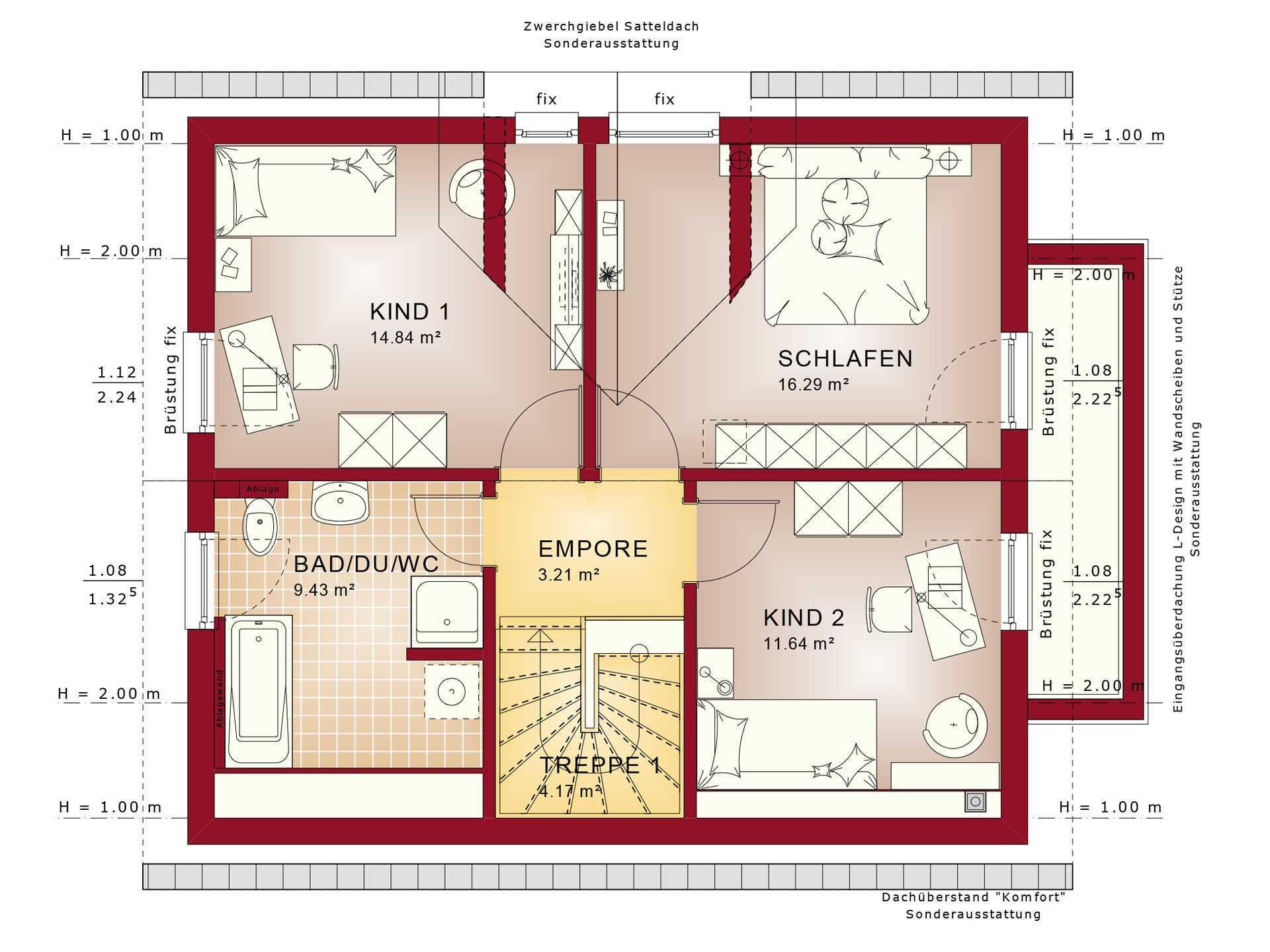 Haus SOLUTION 125 V4 Grundriss DG von Living Haus