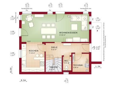 Haus SOLUTION 125 V4 Grundriss EG von Living Haus