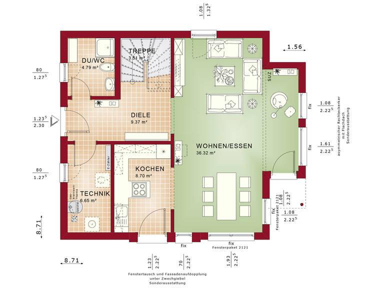 Haus SOLUTION 125 V7 Grundriss EG von Living Haus