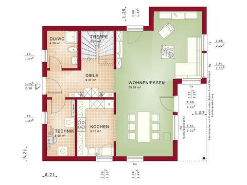 Haus SOLUTION 125 V9 Grundriss EG von Living Haus