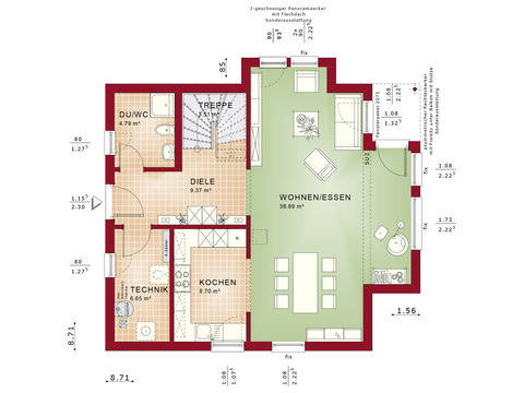 Haus SOLUTION 125 V10 Grundriss EG von Living Haus