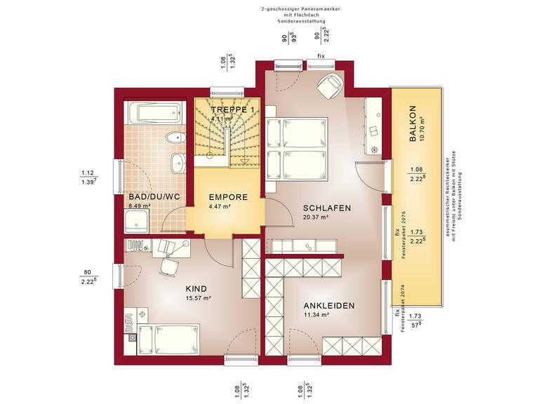 Haus SOLUTION 125 V10 Grundriss OG von Living Haus
