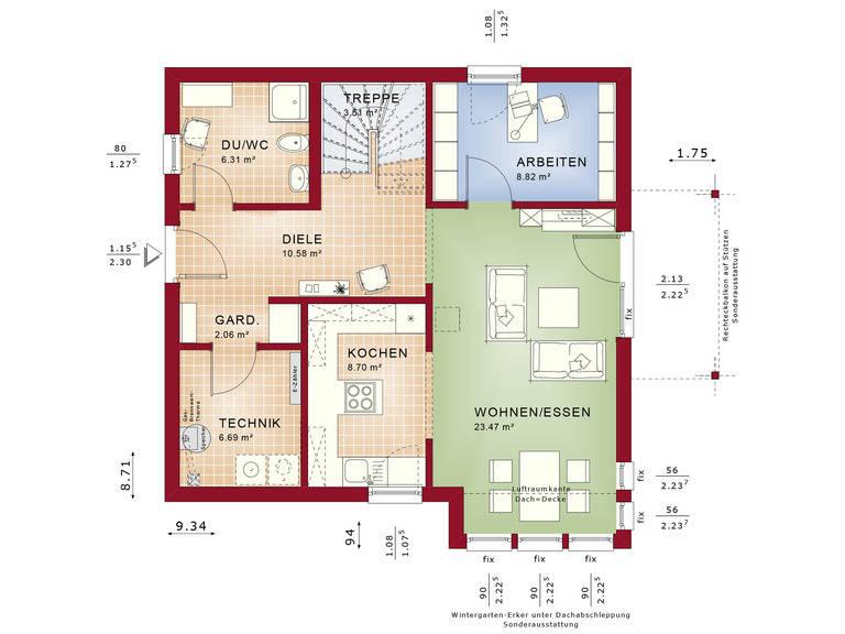 Haus SOLUTION 134 V2 Grundriss EG