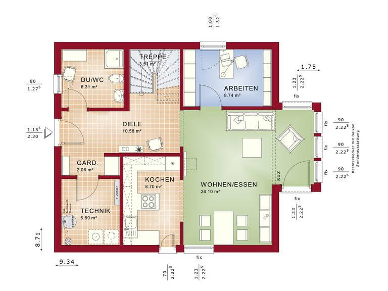 Haus SOLUTION 134 V3 Grundriss EG von Living Haus
