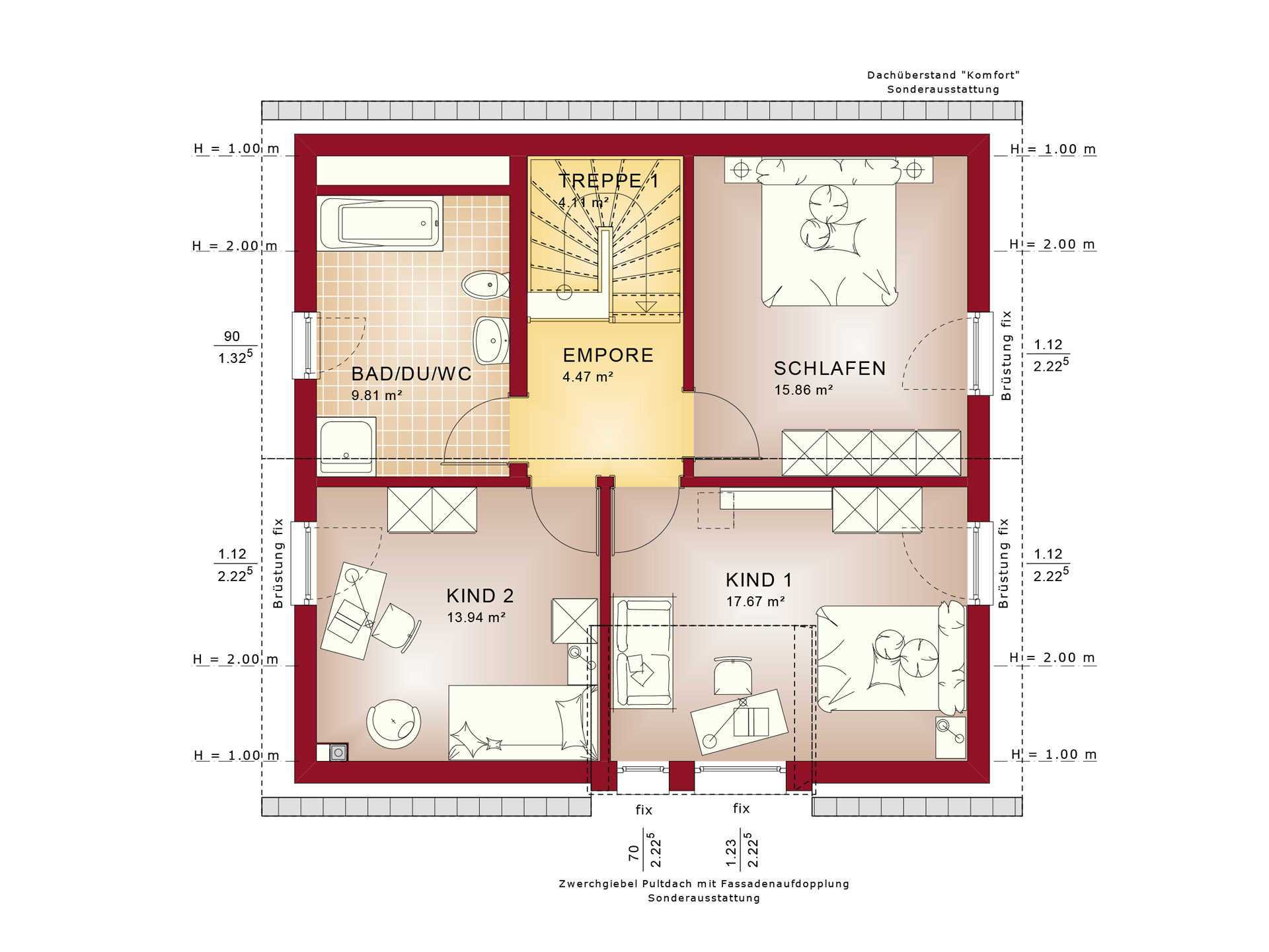Haus SOLUTION 134 V4 Grundriss DG von Living Haus