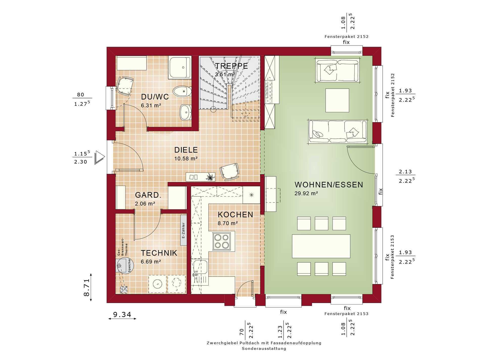Haus SOLUTION 134 V4 Grundriss EG von Living Haus