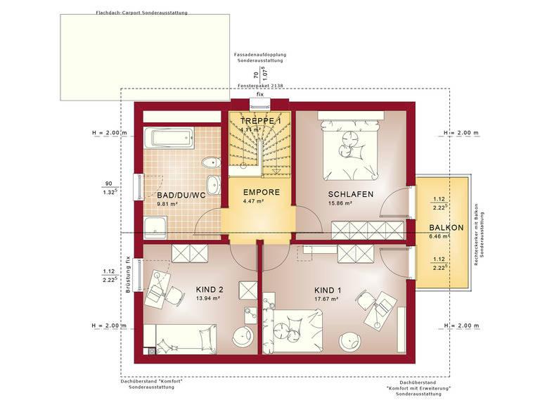 Haus SOLUTION 134 V7 Grundriss DG von Living Haus
